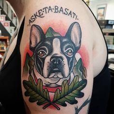 Grey French Bulldog, French Bulldog Tattoo, Toy Bulldog, Bulldog Puppies, Deerstalker Hat, Puppy Tattoo, Traditional Tattoo Old School, French Dogs, Most Popular Dog Breeds