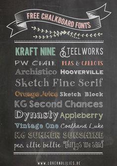 LoveAndLilies.de | Chalkboard Design: kostenlose Fonts, Retro Geburtstagsposter