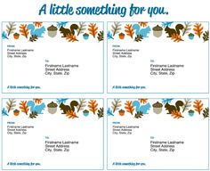 Beautiful and free address labels. I could see these as an invite too - harvest dinner party, woodland baby shower. Free Address Labels, Mailing Labels, Labels Free, Printable Labels, Free Printables, Computer Paper, Holiday Gift Tags, Cover Template, Some Cards