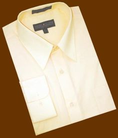 SKU#ET757 Solid Champagne Cotton Blend Dress Shirt With Convertible Cuffs $39 | MensITALY  Price: US $39