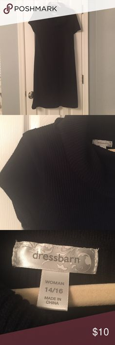 Black sweater dress Beautiful short sleeve black knit sweater dress with cowl neck.  Knee length, great with boots. Good used condition, minor piling at seams Dress Barn Dresses