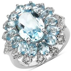 7.71 Carat Genuine Blue Topaz & White Topaz .925 Sterling Silver Ring
