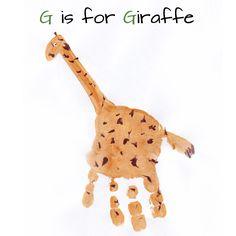 Alphabet Handprint Art - letter G  this would be a wonderful playroom/nursery idea
