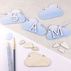 Create your own Ombre cloud bunting and personalise with wooden letters! World Crafts, Iris Folding, Wooden Shapes, Fancy Nancy, Online Tutorials, Silk Screen Printing, Copper Color, Craft Materials, Wooden Letters