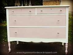 Pretty in pink dresser - idea for Mias dresser but in purple of course!