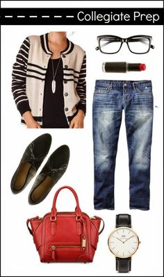 Collegiate Stripe Sweater & Oxford Shoes. Casual outfit idea.