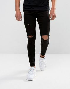Gym King Muscle Fit Super Skinny Jeans In Black With Distressing - Bla