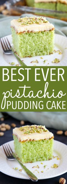 This Best Ever Pistachio Pudding Cake is so moist and flavourful with the perfect combination of pistachio and cream. A tender pistachio-flavoured cake is topped with a simple cream cheese frosting and crushed nuts! Recipe from ! Pistachio Pudding Cake, Pistachio Dessert, Pistachio Nut Cake Recipe, Pistachio Pie, Pistachio Muffins, Pistachio Recipes, Best Dessert Recipes, Easy Desserts, Delicious Desserts