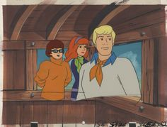 Production Cel Featuring Velma. Daphne And Fred With Production Background From Scooby Doo And Scrappy Doo TV Series