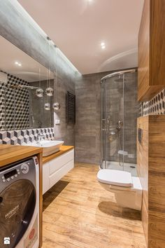 Średnia łazienka w domu jednorodzinnym bez okna, styl nowoczesny - zdjęcie od Kameleon - Kreatywne Studio Projektowania Wnętrz