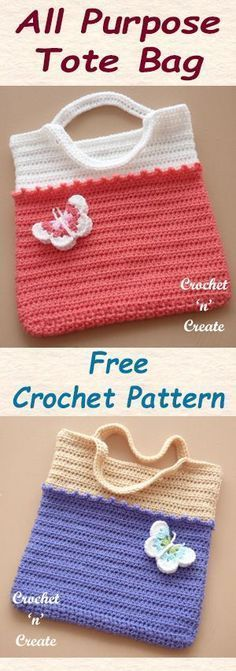 Free crochet pattern for an all purpose tote bag. #crochet