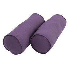 Blazing Needles Twill Bolster Pillows with Cording and Inserts - Set of 2 Grape - 9814-S2-CD-TW-GP