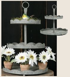 cake stand,cupcake stand,cake tree,ribbon ceramic cake stand,galvanized stand - Jilly Bean   Kids jillybeankids.com  **I might need to own this thing**