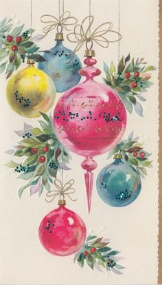 Vintage Christmas Card, Retro Holiday, Vintage Christmas Ornaments