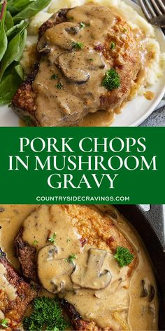 Pan fried pork chops in a creamy mushroom gravy. This easy pork chop recipe can be made in 30 minutes and is a perfect comfort food meal! chop recipe easy Pork Chops in Mushroom Gravy Pan Fried Pork Chops, Pork Chops And Gravy, Juicy Pork Chops, Pork Chops Mushroom Gravy, Meals With Pork Chops, Pork Chops With Mushrooms, Pork Chop Meals, Skillet Pork Chops, Pork Chops And Rice