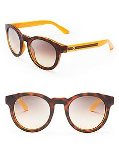 Gucci Two-Tone Round Wayfarer Sunglasses | Bloomingdale's