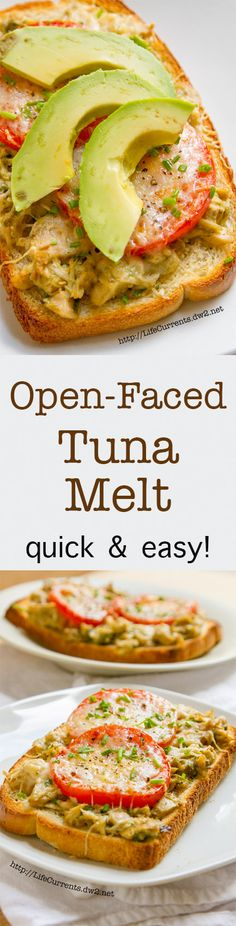 This Open-faced Island Trollers Tuna Melt is a great light lunch for these summer months. Easy to mix up. Quick to cook. And, delicious to eat. All the fresh herbs in the tuna mix really help it say s(Tuna Recipes Breakfast) Tuna Recipes, Seafood Recipes, New Recipes, Cooking Recipes, Favorite Recipes, Tuna Fish Sandwich, Soup And Sandwich, Healthy Snacks, Healthy Recipes