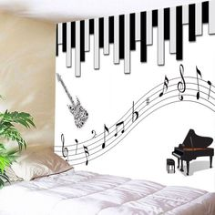Musical Instrument Print Tapestry Wall Hanging Decoration - Black White W59 Inch * L51 Inch Mobile
