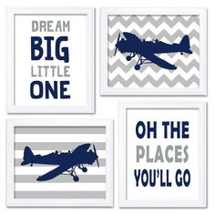 Airplane Nursery Art Navy Grey Nursery Print Set of 4 Transportation Dream Big Little One Oh The Places Youll Go Child Baby Boy Wall Decor  This