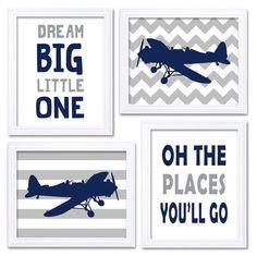 Airplane Nursery Art Navy Grey Nursery Print Set of 4 Transportation Dream Big Little One Oh The Places You'll Go Plane Baby Boy Wall Decor