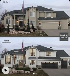 Stucco Homes, Stucco Exterior, House Paint Exterior, Exterior Design, Stone On House Exterior, Home Exterior Makeover, Exterior Remodel, Modern Farmhouse Exterior, Modern Farmhouse Style