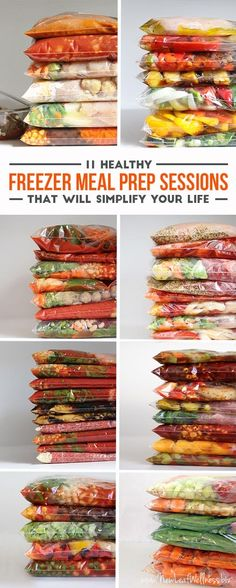 11 Healthy Freezer Meal Prep Sessions That Will Simplify Your Life Crock Pot Freezer Meals - lots of great recipes, including meals for special diets, healthy recipes and kid-friendly meals. Simply combine the ingredients in a gallon-sized bag and freeze. Make Ahead Freezer Meals, Crock Pot Freezer, Freezer Cooking, Crock Pot Cooking, Cooking Bacon, Bulk Cooking, Crock Pots, Cooking Turkey, Easy Meals