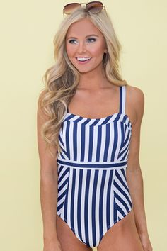 25d72d7510 Washed Ashore Striped Swimsuit Boutique Bathing Suits