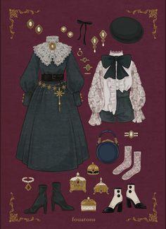 Vintage Fashion Sketches, Fashion Design Drawings, Kleidung Design, Vintage Outfits, Lolita Mode, Clothing Sketches, Look Retro, Anime Dress, Illustration Mode