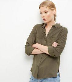Khaki Military Long Sleeve Shirt | New Look