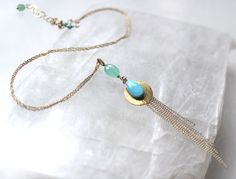 Chinoiserie series, a version in untreated Sleeping Beauty turquoise and Chrysoprase on gold filled....by Catherine Leon