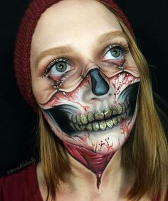 Are you looking for the most scary Halloween makeup Halloween costume diy ideas to look the best at the party? See our photo collage to pick the one that fits the costume. Special Makeup, Special Effects Makeup, Skull Makeup, Makeup Art, Sfx Makeup, Halloween Looks, Halloween Face Makeup, Scary Halloween, Extreme Makeup
