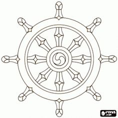 The wheel of dharma, dharmachakra or Dhammacakka, the symbol of Buddhism coloring page