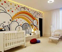 I HATE the mural... BUT I LOVE the openess of this design... 22 nursery decor ideas, decorating colors for baby room designs