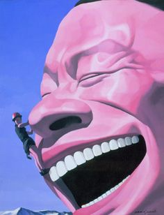 The mountain climber 2003 Yue Minjun I think the artwork is about a guy climbing up Yue Minjun face . I like Yue Minjun expression its very cheerful. I want to adopt the use of something to be a object.