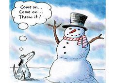 Funny Christmas Cartoons Snowman Dog Ball