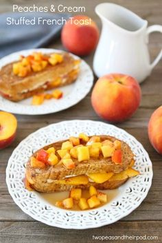 Peaches and Cream Stuffed French Toast | Two Peas and Their Pod