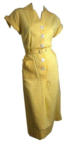 Yellow Gingham Cotton 1940s Day Dress