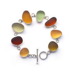 Autumn Colours Sea Glass Bracelet by Tania Covo