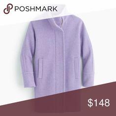 "J.Crew Stadium-cloth cocoon coat in Heather Purple Worn once, like new condition. Italian wool/nylon. Body length: 34 1/4"". J. Crew Jackets & Coats Trench Coats"
