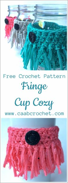 Free Fringe Cup Cozy Pattern from Cute As A Button Crochet & Craft. Crochet pattern.