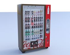 Buy a 3D soft drink vending machine model in FBX 3D format that works with most 3D modeling software.