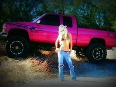 BIG PINK TRUCK! Would so drive this if it didn't have the lame black flames on it!