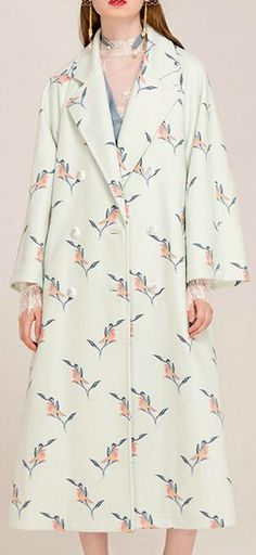 Bird & Floral Embroidered Long Wool & Cashmere Coat