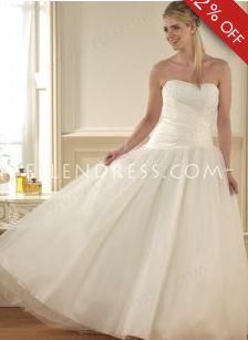 2012 Popular A-line Strapless Sleeveless Tulle Cheap Wedding Dress #USAHS430 - See more at: http://www.ellendress.com/wedding-dresses/cheap-wedding-dresses.html#sthash.zkA5chLX.dpuf