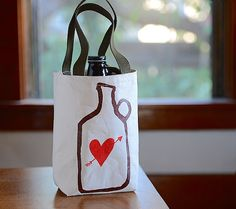 Beer Love Growler Bag Screen Printed Canvas Growler by stripeycity