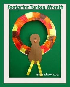 footprint turkey wreath craft, thanksgiving