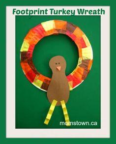 footprint turkey wreath craft, thanksgiving