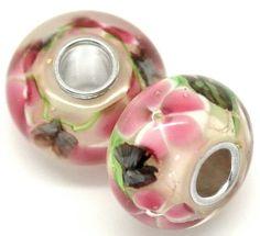 BUTTERFLY on Pink Flower Murano Glass Bead lampwork by ThriftyJane, $7.99