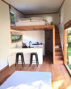 14 Impressive Tiny House Design Ideas That Maximize Function and Style Tiny House Living Room Design Function House Ideas Impressive Maximize Style Tiny Tiny Spaces, Small Apartments, Loft Spaces, Studio Apartments, Tiny House Living, Tiny House With Loft, Tiny Loft, Tiny House Stairs, Loft House