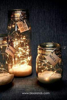 Guirlande LED lumineuse - - Happy Christmas - Noel 2020 ideas-Happy New Year-Christmas Winter Christmas, Christmas Home, Christmas Crafts, Fall Crafts, Fall Winter, Glass Jars, Mason Jars, Led Garland, Light Garland